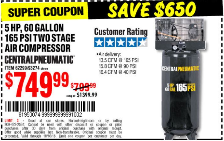 Air compressor direct coupons