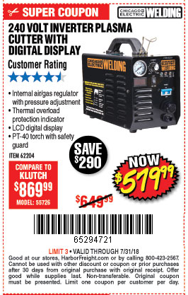Harbor Freight 240 VOLT INVERTER PLASMA CUTTER WITH DIGITAL DISPLAY coupon