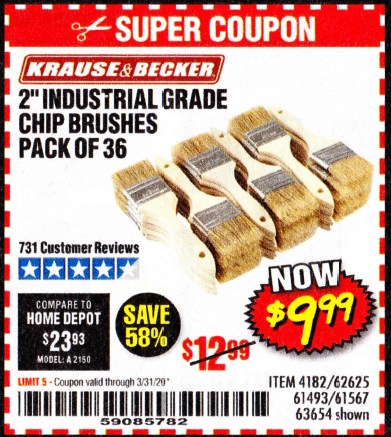 "www.hfqpdb.com - 2"" INDUSTRIAL GRADE CHIP BRUSHES, PACK OF 36 Lot No. 62625/61493/61567"