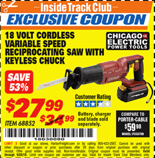 www.hfqpdb.com - 18 VOLT CORDLESS VARIABLE SPEED RECIPROCATING SAW WITH KEYLESS CHUCK Lot No. 68852