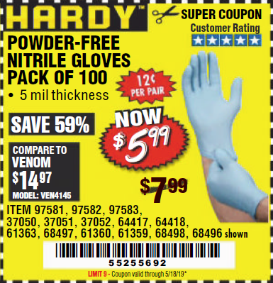 www.hfqpdb.com - POWDER-FREE NITRILE GLOVES PACK OF 100 Lot No. 68496/61363/97581/68497/61360/68498/61359