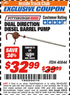 Harbor Freight ITC Coupon DUAL DIRECTION DIESEL BARREL PUMP Lot No. 40844 Expired: 9/30/18 - $32.99