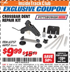Harbor Freight ITC Coupon CROSSBAR DENT REPAIR KIT Lot No. 66957 Expired: 11/30/18 - $9.99