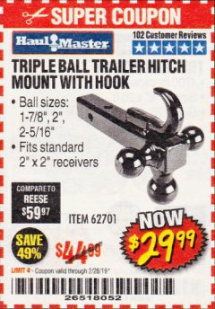 Harbor Freight Coupon TRIPLE BALL TRAILER HITCH MOUNT WITH HOOK Lot No. 62701 Expired: 2/28/19 - $29.99