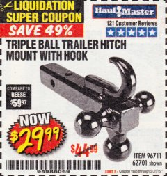 Harbor Freight Coupon TRIPLE BALL TRAILER HITCH MOUNT WITH HOOK Lot No. 62701 Expired: 5/31/19 - $29.99