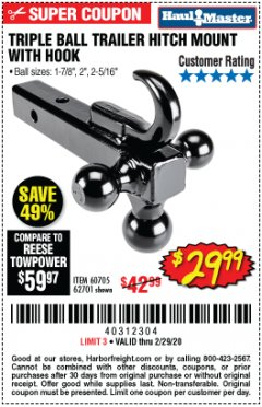 Harbor Freight Coupon TRIPLE BALL TRAILER HITCH MOUNT WITH HOOK Lot No. 62701 Expired: 2/29/20 - $29.99