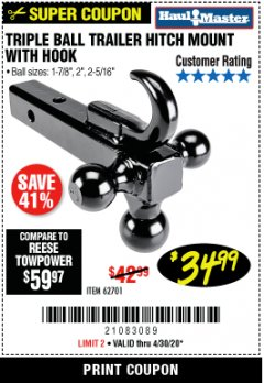 Harbor Freight Coupon TRIPLE BALL TRAILER HITCH MOUNT WITH HOOK Lot No. 62701 Valid Thru: 4/30/20 - $34.99