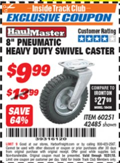 "Harbor Freight ITC Coupon 8"" PNEUMATIC HEAVY DUTY SWIVEL CASTER Lot No. 42485/60251 Expired: 10/31/18 - $9.99"
