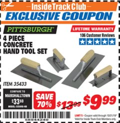 Harbor Freight ITC Coupon 4 PIECE CONCRETE HAND TOOL SET Lot No. 35433 Expired: 10/31/19 - $9.99