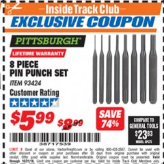 Harbor Freight ITC Coupon 8 PIECE PIN PUNCH SET Lot No. 93424 Dates Valid: 12/31/69 - 10/31/18 - $5.99