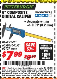 "Harbor Freight Coupon 6"" COMPOSITE DIGITAL CALIPER Lot No. 93293/63586/64052/63137 Expired: 5/31/18 - $7.99"