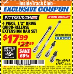 "Harbor Freight ITC Coupon 4 PIECE 1/2"" DRIVE QUICK-RELEASE EXTENSION BAR SET Lot No. 61968/67977 Expired: 7/31/18 - $17.99"