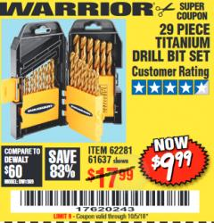Harbor Freight Coupon 29 PIECE TITANIUM NITRIDE COATED HIGH SPEED STEEL DRILL BIT SET Lot No. 5889/61637/62281 Valid Thru: 10/5/18 - $9.99
