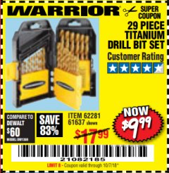 Harbor Freight Coupon 29 PIECE TITANIUM NITRIDE COATED HIGH SPEED STEEL DRILL BIT SET Lot No. 5889/61637/62281 Valid Thru: 10/7/18 - $9.99