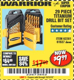 Harbor Freight Coupon 29 PIECE TITANIUM NITRIDE COATED HIGH SPEED STEEL DRILL BIT SET Lot No. 5889/61637/62281 Valid Thru: 10/15/18 - $9.99