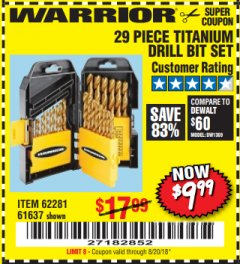 Harbor Freight Coupon 29 PIECE TITANIUM NITRIDE COATED HIGH SPEED STEEL DRILL BIT SET Lot No. 5889/61637/62281 Expired: 8/20/18 - $9.99