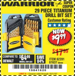 Harbor Freight Coupon 29 PIECE TITANIUM NITRIDE COATED HIGH SPEED STEEL DRILL BIT SET Lot No. 5889/61637/62281 Valid Thru: 10/1/18 - $9.99