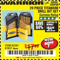 Harbor Freight Coupon 29 PIECE TITANIUM NITRIDE COATED HIGH SPEED STEEL DRILL BIT SET Lot No. 5889/61637/62281 Valid Thru: 10/26/18 - $9.99