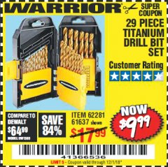 Harbor Freight Coupon 29 PIECE TITANIUM NITRIDE COATED HIGH SPEED STEEL DRILL BIT SET Lot No. 5889/61637/62281 Valid Thru: 12/1/18 - $9.99