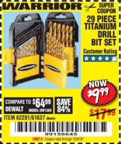 Harbor Freight Coupon 29 PIECE TITANIUM NITRIDE COATED HIGH SPEED STEEL DRILL BIT SET Lot No. 5889/61637/62281 Valid Thru: 12/9/18 - $9.99
