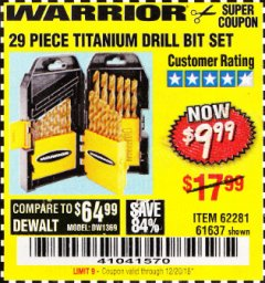 Harbor Freight Coupon 29 PIECE TITANIUM NITRIDE COATED HIGH SPEED STEEL DRILL BIT SET Lot No. 5889/61637/62281 Valid Thru: 12/20/18 - $9.99