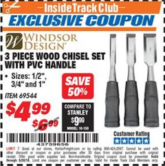 Harbor Freight ITC Coupon 3 PIECE WOOD CHISEL SET Lot No. 69544 Dates Valid: 12/31/69 - 6/30/18 - $4.99