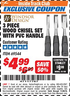 Harbor Freight ITC Coupon 3 PIECE WOOD CHISEL SET Lot No. 69544 Expired: 11/30/18 - $4.99