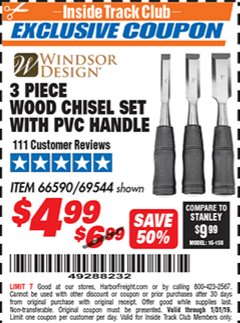 Harbor Freight ITC Coupon 3 PIECE WOOD CHISEL SET Lot No. 69544 Expired: 1/31/19 - $4.99