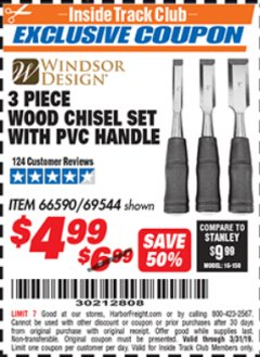 Harbor Freight ITC Coupon 3 PIECE WOOD CHISEL SET Lot No. 69544 Expired: 3/31/19 - $4.99