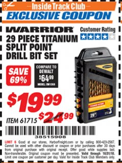 Harbor Freight ITC Coupon 29 PIECE SPLIT POINT TITANIUM NITRIDE COATED DRILL BIT SET Lot No. 32926/61715 Dates Valid: 12/31/69 - 10/31/18 - $19.99