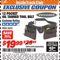 Harbor Freight ITC Coupon 12 POCKET OIL TANNED LEATHER TOOL BELT Lot No. 3452 Expired: 7/31/18 - $19.99