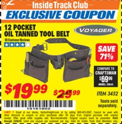 Harbor Freight ITC Coupon 12 POCKET OIL TANNED LEATHER TOOL BELT Lot No. 3452 Dates Valid: 12/31/69 - 2/28/19 - $19.99