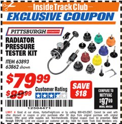 Harbor Freight ITC Coupon RADIATOR PRESSURE TESTER KIT Lot No. 61666/69258/61922 Expired: 7/31/18 - $79.99