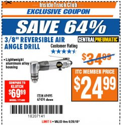 "Harbor Freight ITC Coupon 3/8"" REVERSIBLE AIR ANGLE DRILL Lot No. 67474/69495 Expired: 6/26/18 - $24.99"