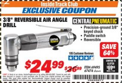 "Harbor Freight ITC Coupon 3/8"" REVERSIBLE AIR ANGLE DRILL Lot No. 67474/69495 Valid Thru: 12/31/18 - $24.99"