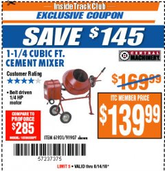 Harbor Freight ITC Coupon 1-1/4 CUBIC FT. CEMENT MIXER Lot No. 61931/91907 Expired: 8/14/18 - $139.99
