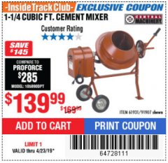 Harbor Freight ITC Coupon 1-1/4 CUBIC FT. CEMENT MIXER Lot No. 61931/91907 Expired: 4/23/19 - $139.99