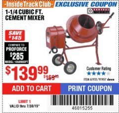 Harbor Freight ITC Coupon 1-1/4 CUBIC FT. CEMENT MIXER Lot No. 61931/91907 Expired: 8/4/19 - $139.99