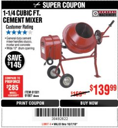 Harbor Freight Coupon 1-1/4 CUBIC FT. CEMENT MIXER Lot No. 61931/91907 Expired: 10/7/18 - $139.99