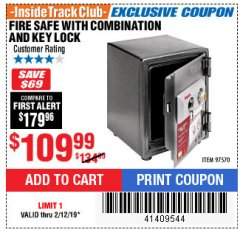 Harbor Freight ITC Coupon FIRESAFE WITH COMBINATION AND KEY LOCK Lot No. 97570 Expired: 2/12/19 - $109.99
