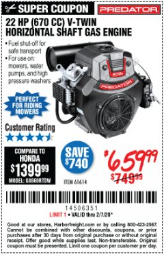 Harbor Freight Coupon PREDATOR 22 HP (670 CC) V-TWIN HORIZONTAL SHAFT GAS ENGINE Lot No. 61614 Expired: 2/7/20 - $659.99