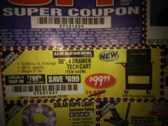 "Harbor Freight Coupon 26/30"", 4 DRAWER TOOL CART Lot No. 95659/61634/61952 Expired: 7/21/18 - $99.99"