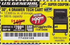 "Harbor Freight Coupon 26/30"", 4 DRAWER TOOL CART Lot No. 95659/61634/61952 Expired: 9/2/18 - $99.99"