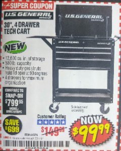 "Harbor Freight Coupon 26/30"", 4 DRAWER TOOL CART Lot No. 95659/61634/61952 Expired: 7/31/18 - $99.99"