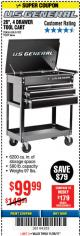 "Harbor Freight Coupon 26/30"", 4 DRAWER TOOL CART Lot No. 95659/61634/61952 Expired: 11/26/17 - $99.99"