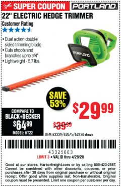 "Harbor Freight Coupon 22"" ELECTRIC HEDGE TRIMMER Lot No. 62339/62630 Expired: 6/30/20 - $29.99"