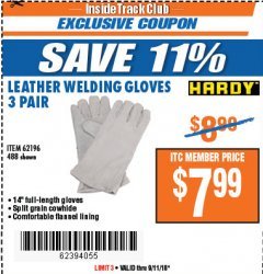 "Harbor Freight ITC Coupon 14"" LEATHER WELDING GLOVES 3 PAIR Lot No. 488/62196 Expired: 9/11/18 - $7.99"