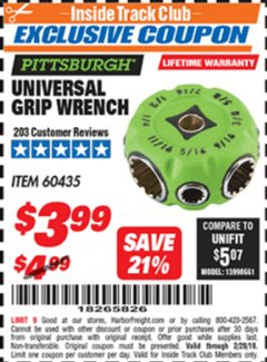 Harbor Freight ITC Coupon UNIVERSAL GRIP WRENCH Lot No. 60435 Dates Valid: 12/31/69 - 2/28/19 - $3.99