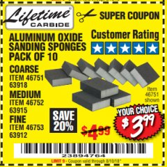 Harbor Freight Coupon ALUMINUM OXIDE SANDING SPONGES PACK OF 10 Lot No. 46751/46752/46753 Expired: 8/10/18 - $3.99