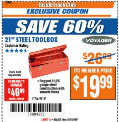 "Harbor Freight ITC Coupon 21"" STEEL TOOLBOX Lot No. 91111 Expired: 5/15/18 - $19.99"